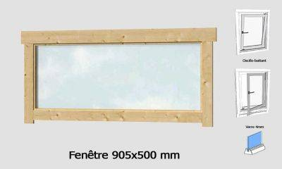 Fenêtre 905x500 mm pour abris en madriers 28mm