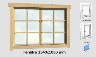 Fenêtre 1340x1050 mm pour abris en madriers 28mm