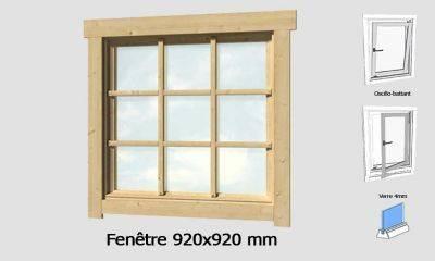 Fenêtre 920x920 mm pour abris en madriers 28mm