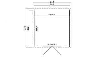 Abri monopente Sacramento - madriers 28mm - 8.20m² intérieur