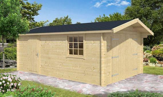 Garage Tournesol 20, madriers 44mm, 17.16m² intérieur toit double pente