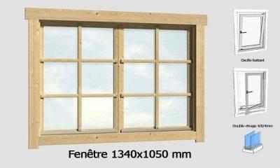 Fenêtre 1340x1050 mm pour abris en madriers 44mm
