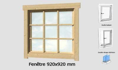 Fenêtre 920x920 mm pour abris en madriers 44mm