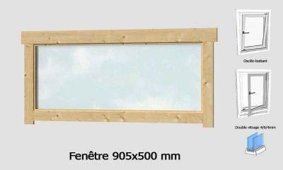 Fenêtre 905x500 mm pour abris en madriers 44mm