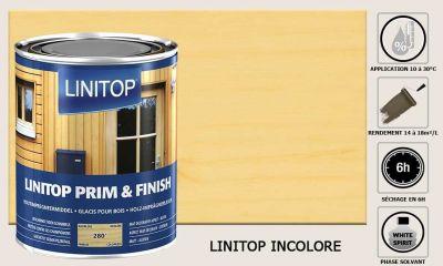 Lasure Linitop Prim&Finish teinte incolore 5 litres