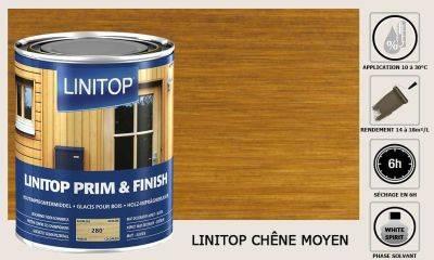 Lasure Linitop Prim&Finish teinte Chêne moyen 5 litres