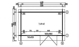Abri New York 9F, madriers 44mm - 7.48m² intérieur