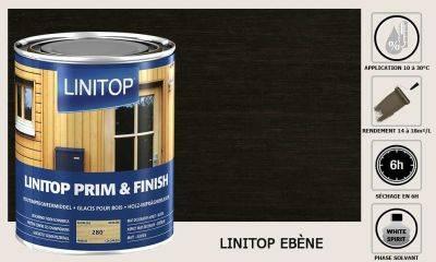 Lasure Linitop Prim&Finish teinte Ebène 5 litres