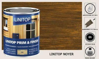 Lasure Linitop Prim&Finish teinte Noyer 5 litres
