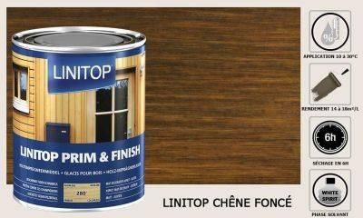Lasure Linitop Prim&Finish teinte Chêne foncé 5 litres