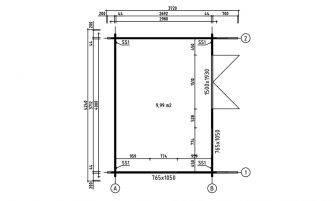 Abri Capucine 12, madriers 44mm, 9.99m² intérieur