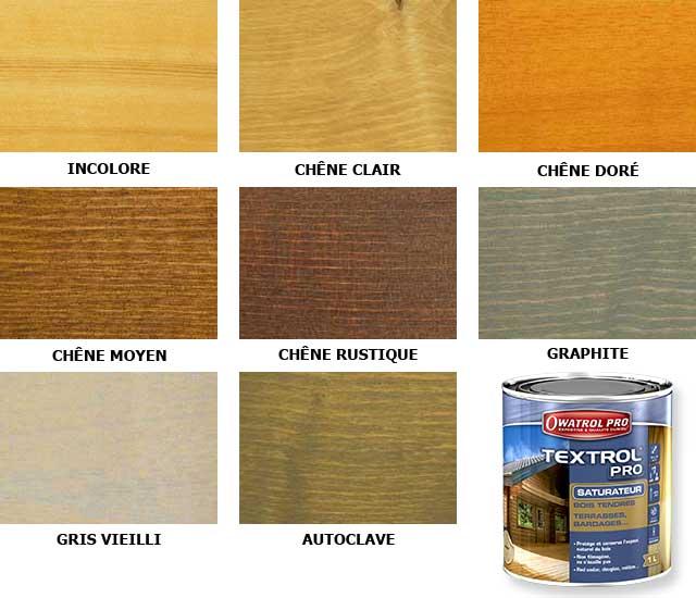 Nuancier des teintes disponibles Textrol pro